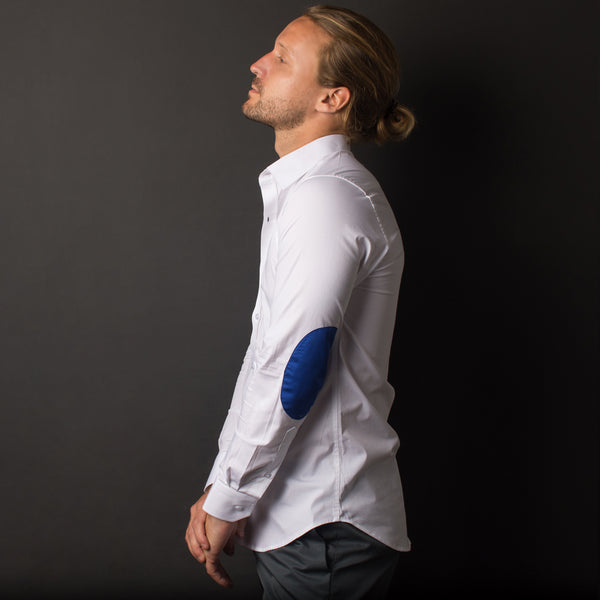 WHITE STRETCH SHIRT WITH ELBOW PATCH