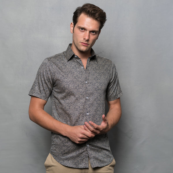 SEED PRINT DARK BLUE SHORT SLEEVE SHIRT