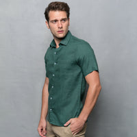 GREEN SHORT SLEEVE LINEN SHIRT