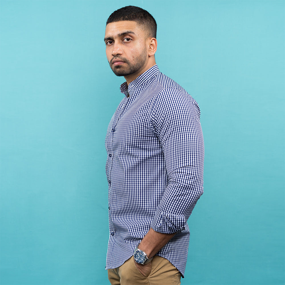 DARK BLUE CHECKED NEHRU COLLAR SHIRT