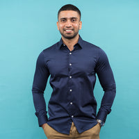 NAVY BLUE PRINTED LONG SLEEVE SHIRT