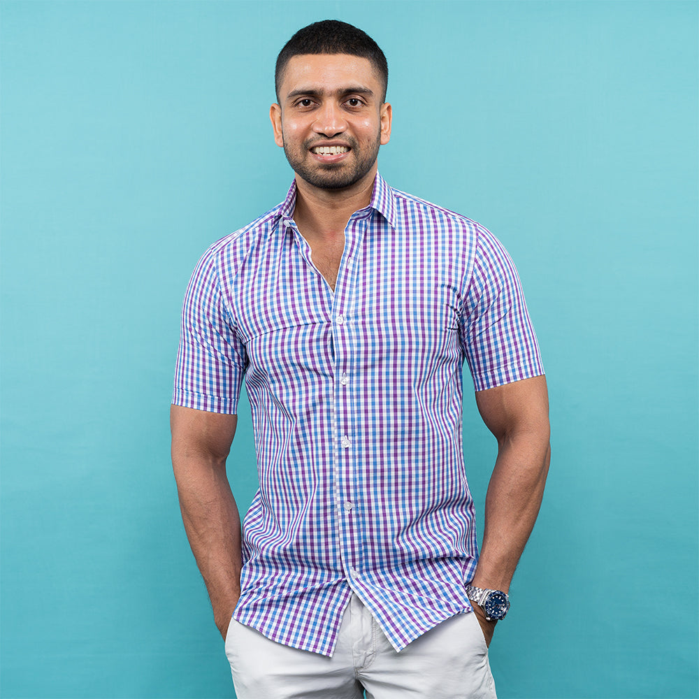 PURPLE & LIGHT BLUE CHECKED SHORT SLEEVE SHIRT