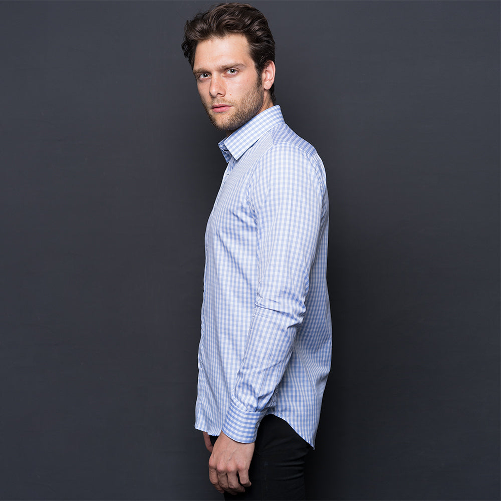 LIGHT BLUE CHECKED WRINKLE FREE SHIRT