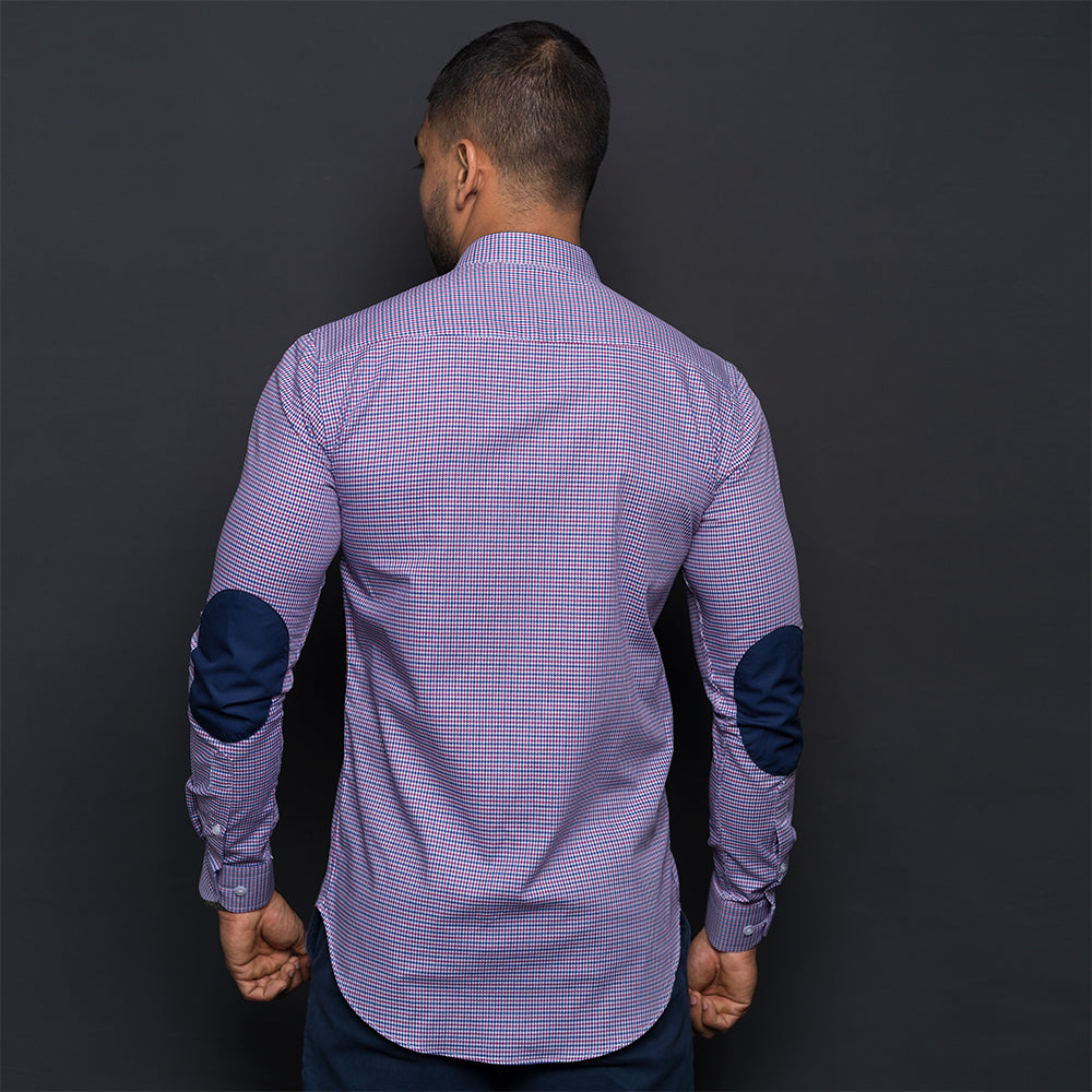 PURPLE & BLUE HOUNDSTOOTH ELBOW PATCH SHIRT