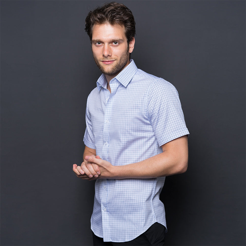 BLUE CHECKED SHORT SLEEVE SHIRT