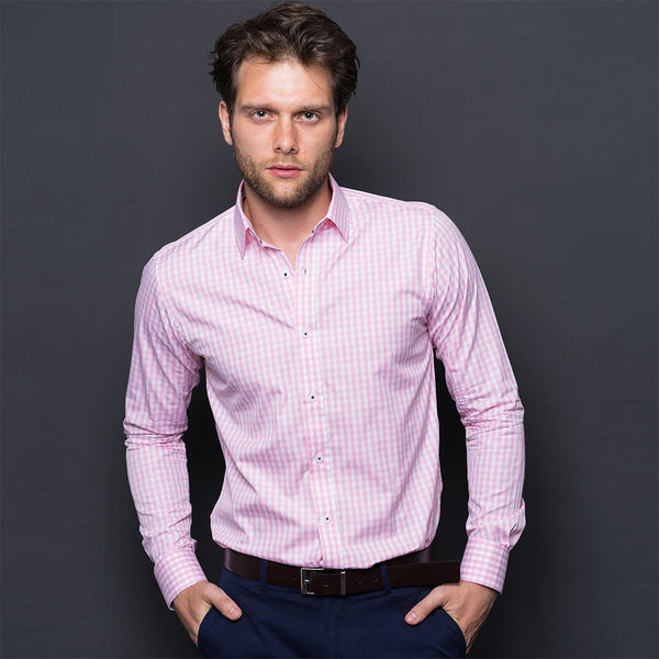PINK CHECKED WRINKLE FREE SHIRT