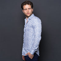 BLUE PAISLEY PRINT LONG SLEEVE SHIRT