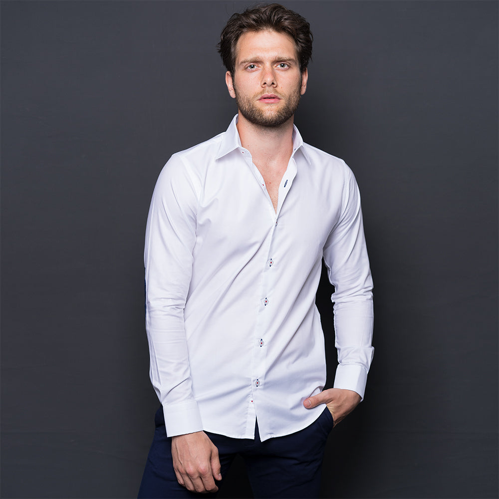 WHITE SHIRT WITH ELBOW PATCH