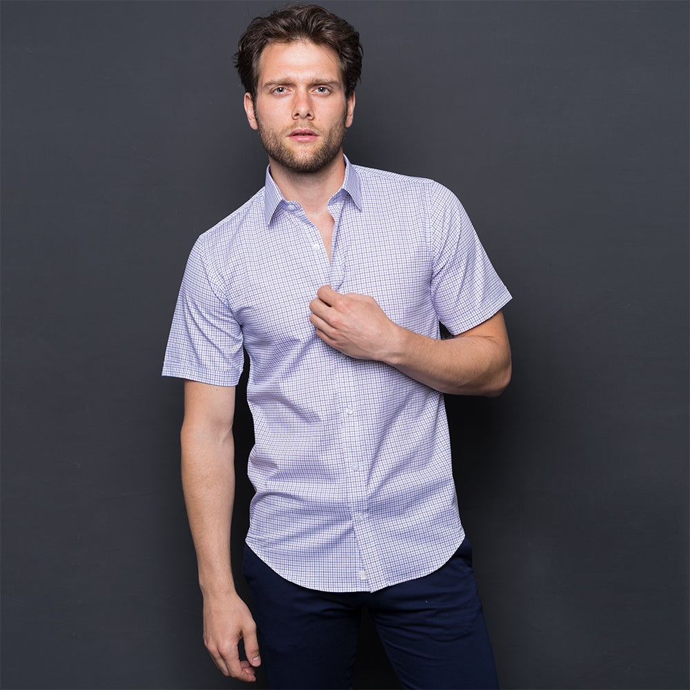 PURPLE & DARK BLUE CHECKED SHORT SLEEVE SHIRT