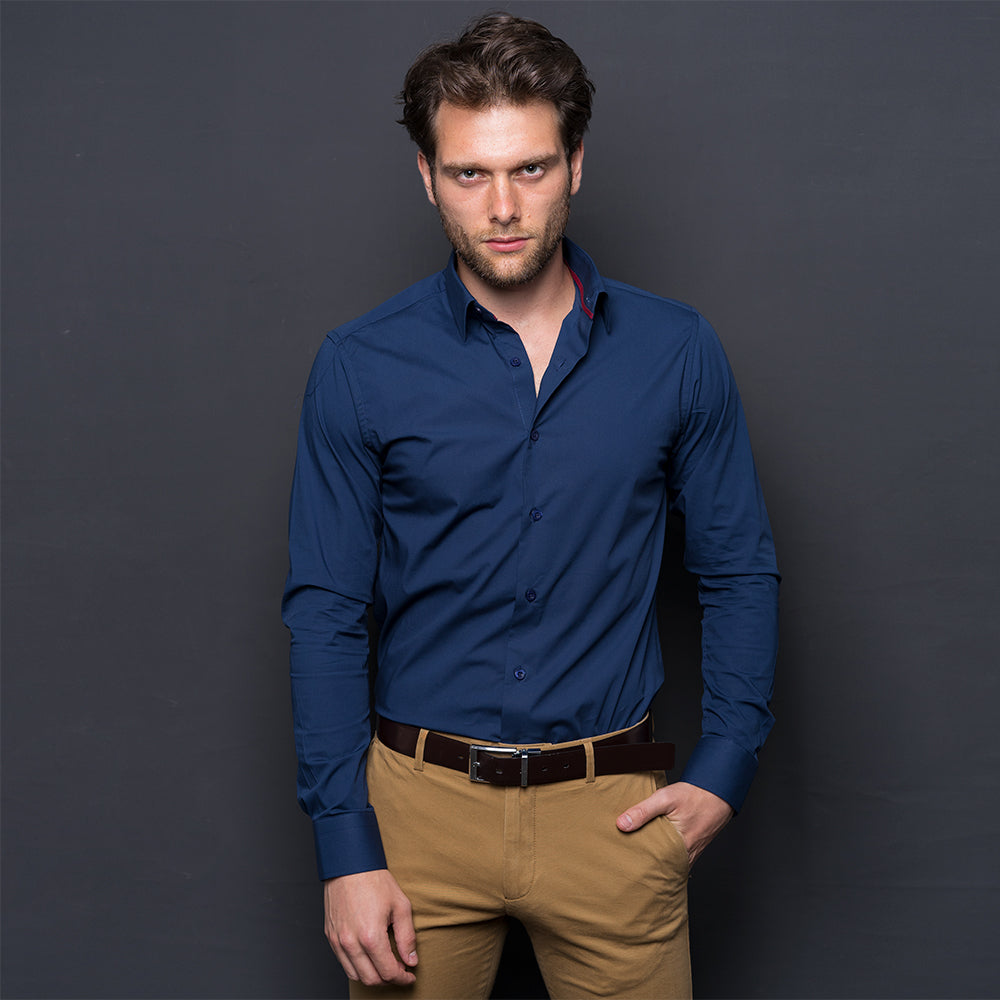 NAVY BLUE COTTON STRETCH LONG SLEEVE SHIRT