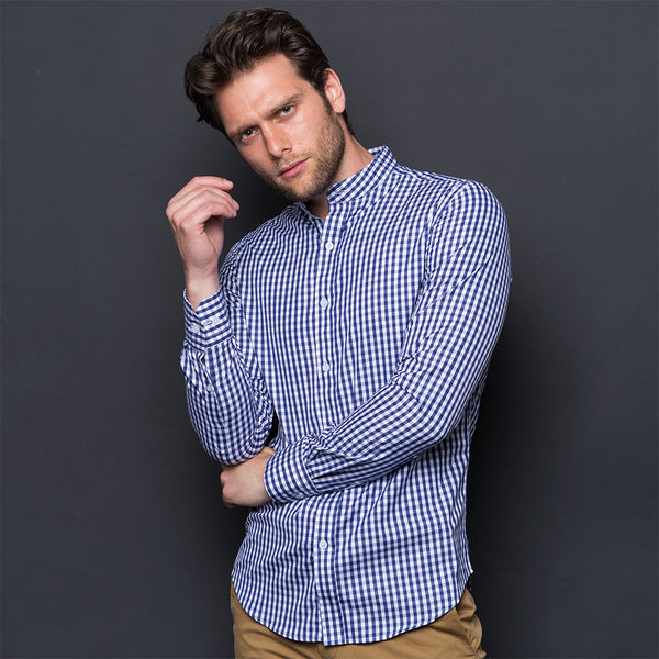 DARK BLUE CHECKED WRINKLE FREE SHIRT