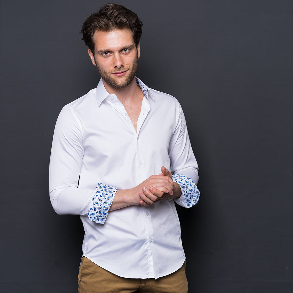 WHITE PAISLEY CONTRAST LONG SLEEVE SHIRT