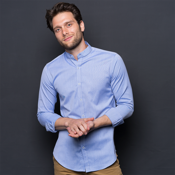 MID BLUE OXFORD LONG SLEEVE SHIRT