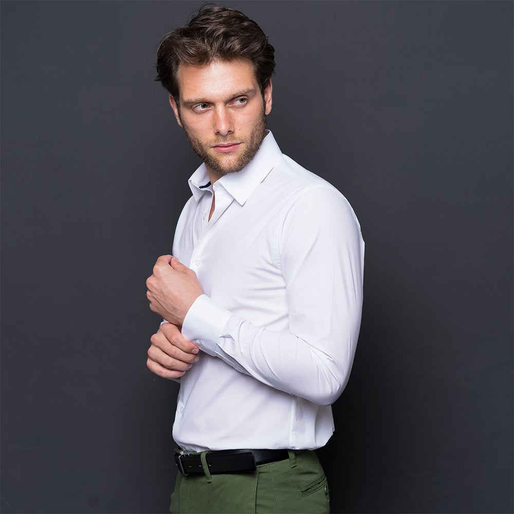 WHITE COTTON STRETCH LONG SLEEVE SHIRT