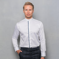 WHITE NEHRU SHIRT WITH COVERED PLACKET PIPING