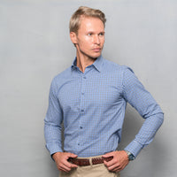 DARK BLUE CHECKED SHIRT WITH INNER COLLAR & CUFF CONTRAST