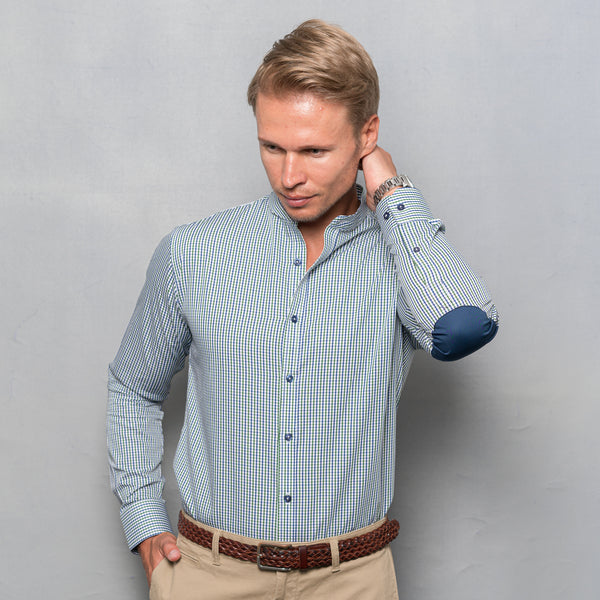 GREEN & BLUE CHECKED SHIRT WITH ELBOW PATCH