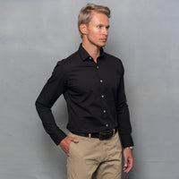 BLACK STRETCH LONG SLEEVE SHIRT