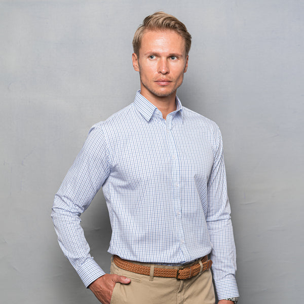 BLUE CHECKED FORMAL LONG SLEEVE SHIRT