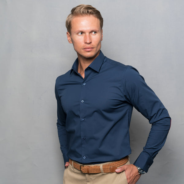 NAVY BLUE STRETCH SHIRT WITH ELBOW PATCH