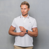 WHITE COTTON STRETCH POLO T-SHIRT