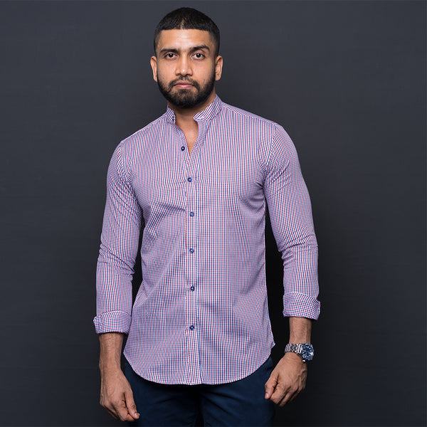 RED & BLUE CHECKED ELBOW PATCH SHIRT