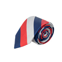 RED BLUE & GREY STRIPED 100% SILK TIE