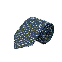 DARK BLUE MINI FLORAL PRINT TIE