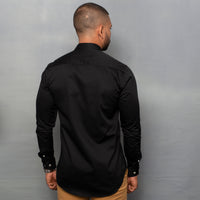 Black Nehru Collar Satin Shirt