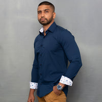 Navy Blue Shirt with Inner Collar & Cuff Contrast