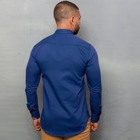Royal Blue Dobby Nehru Long Sleeve Shirt