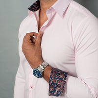 Pink Stretch Shirt with Inner Collar & Cuff Contrast