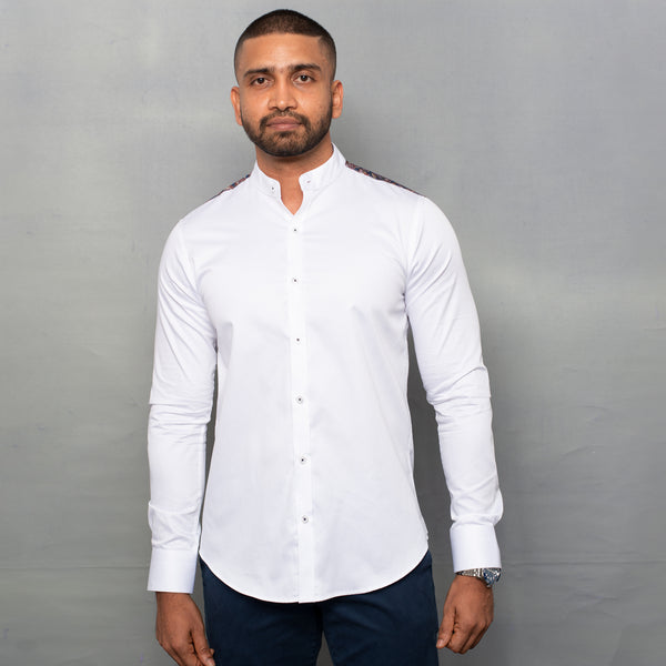 White Shirt with Contrast Back Yoke