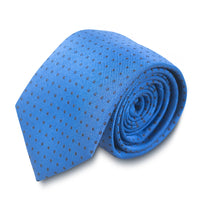 Blue Grosgrain Tie with Black Pin Dots