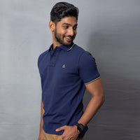 Navy Cotton Stretch Polo T-Shirt