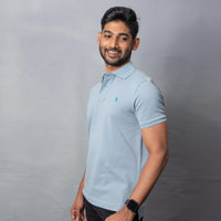 Teal Cotton Stretch Polo T-Shirt