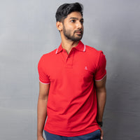 Red Cotton Stretch Polo T-Shirt