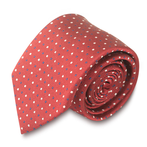 Red Tie with Blue & White Pin Dots