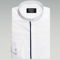 WHITE SHIRT WITH CONTRAST PLACKET PIPING