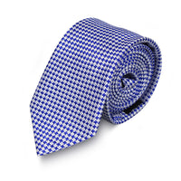 Blue and White Houndstooth 100% SILK Tie