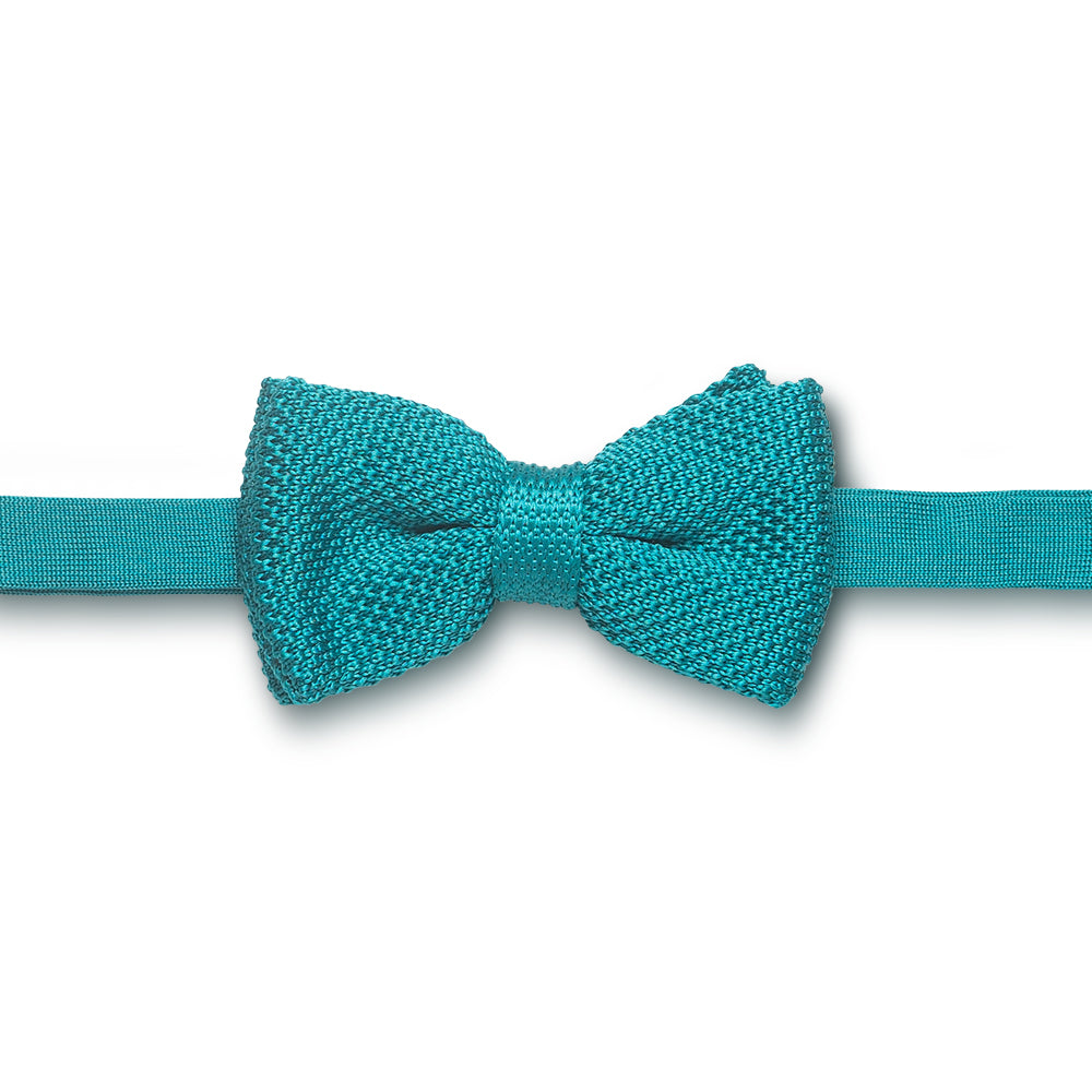 Turquoise knitted bow tie