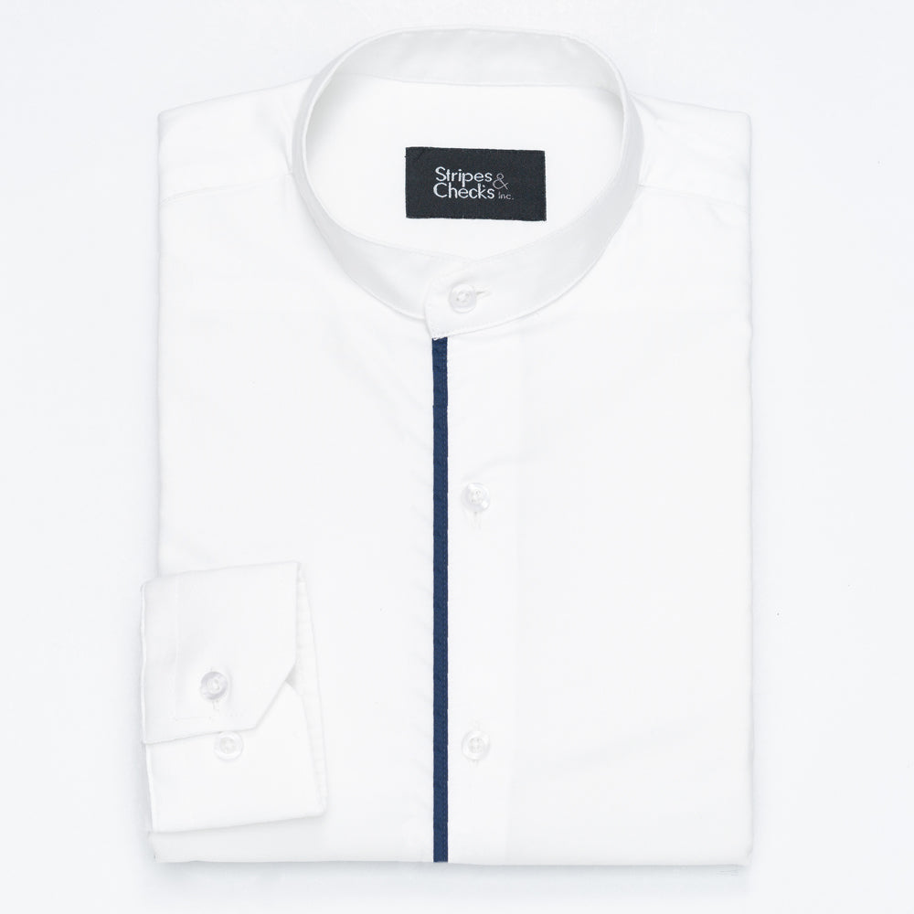 White Mao Collar Long Sleeve Shirt with Navy Blue Piping