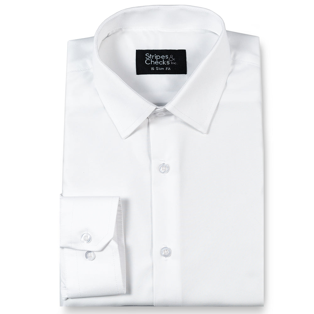 White French Placket (Wrinkle-free) Long Sleeve Shirt