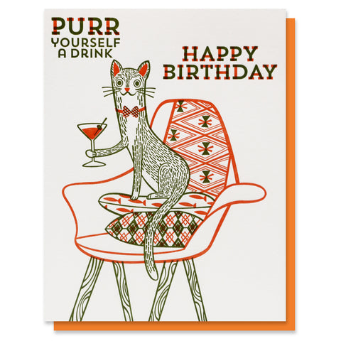 Purr a Drink Birthday Card