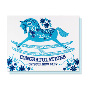 Blue Rocking Horse Card