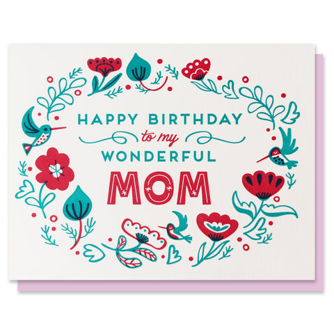 Wonderful Mom Birthday Floral Card