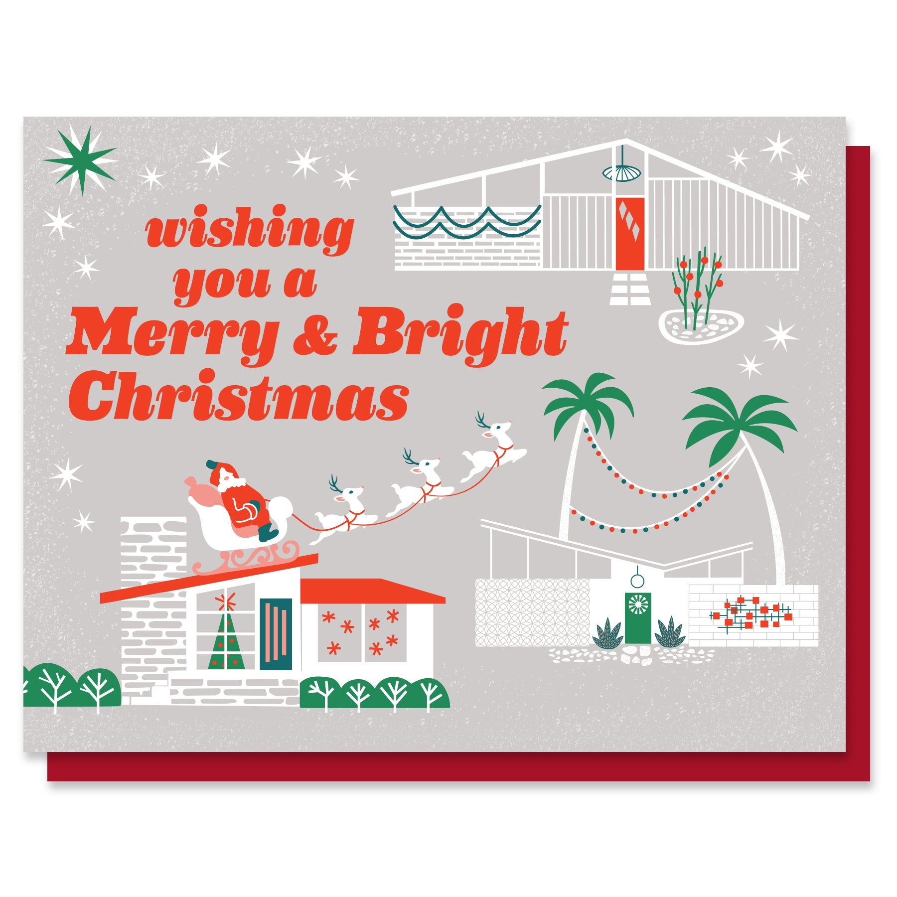 Merry & Bright Mid-Century Christmas Card