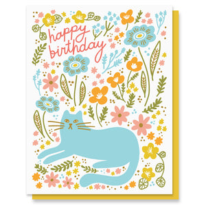 Cat Garden Birthday Card
