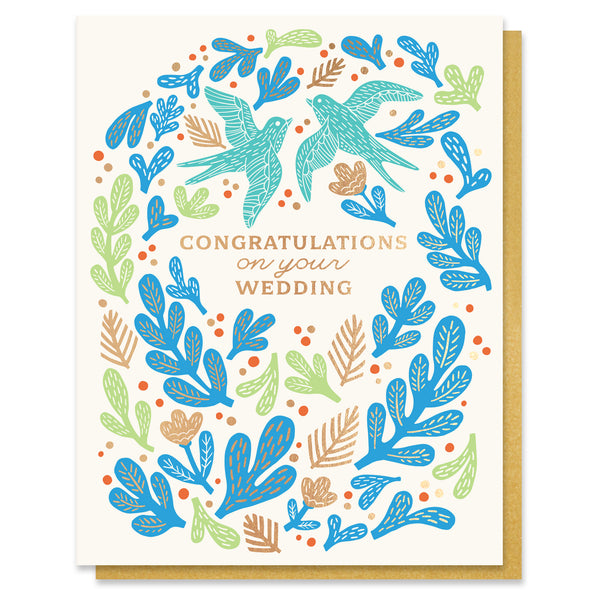 Bird Wedding Congratulations Card