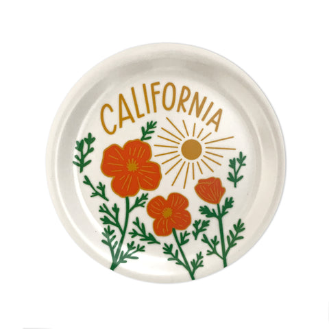 California Poppy Sun White Mini Tray